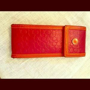Vintage Coach pink, orange eyeglass case